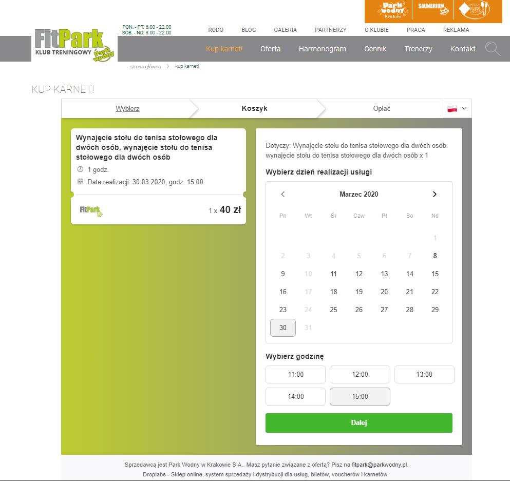 Voucher FitPark Kalendarz